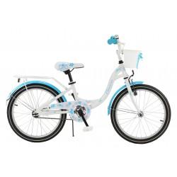 """Rowerek dziecięcy ArtPol Flowers 20"""" biało niebieski dla dziewczynki + kosz"""