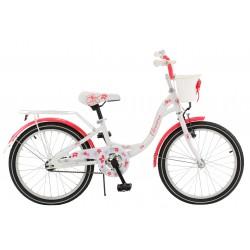 """Rowerek dziecięcy ArtPol Flowers 20"""" biało różowy dla dziewczynki + kosz"""