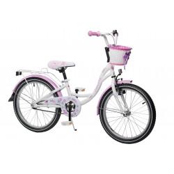 """Rowerek dziecięcy ArtPol Flowers 20"""" biało fiolet dla dziewczynki + kosz"""