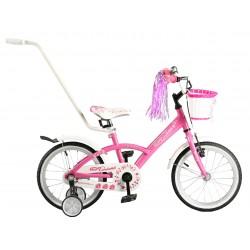 """Rowerek dziecięcy ARTPOL ROSES 16"""" różowy + koszyk, kółka"""