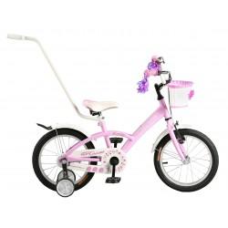"""Rowerek dziecięcy ARTPOL ROSES 16"""" fioletowy + koszyk, kółka"""