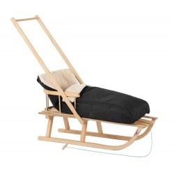 SANKI drewniane dla dzieci z oparciem, pchaczem i czarnym śpiworkiem